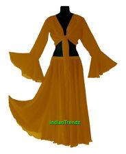 Golden - Belly Dance Chiffon Skirt + Top Set Ruffle Tie Gypsy Dress Jupe