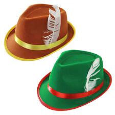 BAVARIA OKTOBERFEST HAT DELUXE BROWN HAT WITH FEATHER MUNICH FANCY DRESS