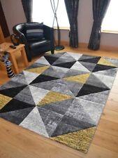 Quality Lt Silver Ochre Yellow Triangles Floor Mat Rugs Long Hall Runner Cheap