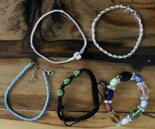 Charm Bracelet Beaded Elastic Woven Leather Cord Silver Twist Gift Girls Jewelry