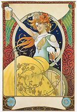 Mucha Estilo-Cerveza Chica-Deco A3 arte cartel impresión