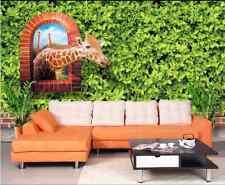3D Pflanzen, Giraffe 677 Fototapeten Wandbild Fototapete BildTapete Familie