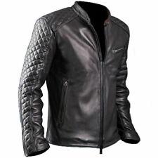 Men's Motorcycle Diamond Cafe Racer Black Genuine Leather Jacket by Gearswears