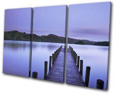 Lake Jetty Sunset Seascape TREBLE TOILE murale ART Photo Print