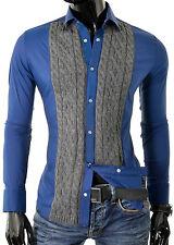 Camicia da Uomo Cipo & Baxx Pearl bottoni lavorato a maglia fine slim fit cotone colletto classico