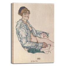 Schiele seduta nuda design quadro stampa tela dipinto telaio arredo casa