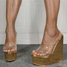 Women Wedge High Heel Platform Clear Clog Slippers Casual Beach Sandals Summer