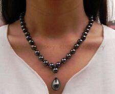 "Pearl Drop Pendant Necklaces 18"" Aaa+ Elegant 8/10mm Black South Sea Shell"
