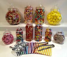 Lo stile di plastica Dolce Barattoli, 2 Pinze, 2 misurini, 100 sacchetti di caramelle fai da te matrimonio buffet