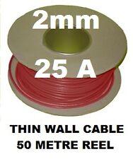 50m Cavo Auto Reel 2mm 25A AUTO GUAINA FILO 28/0.3, 2.0 mm Automotive thinwall