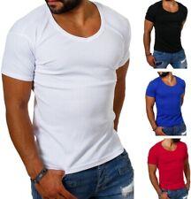 Young & Rich Herren Uni feinripp T-Shirt tiefer runder V-Ausschnitt slimfit 1874
