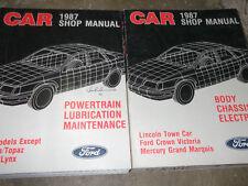 1987 Lincoln Town Car Service Shop Repair Manual W Powertrain Lubrication Book