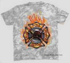 Camiseta Batik gris claro Bomberos Motivo bomberos Modelo Fuego Rescue
