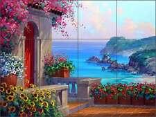 Ceramic Tile Mural Kitchen Backsplash Senkarik Mediterranean Seascape Art MSA069