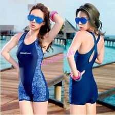 Women Blue Sport Shorts One Piece Bikini Bathing Suit Tankini Swimsuit Swimwear