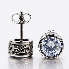 silver earrings stainless steel crystal vintage style stud 1.25ct