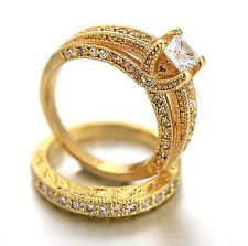 9K GOLD GF R196 VINTAGE SQUARE 2CT LAB DIAMOND ENGAGEMENT WEDDING SOLID RING SET