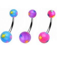 Piercing de Ombligo Perno Para Ombligo Anillo Multi Color UV Bolas con Estrellas