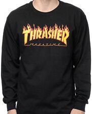 THRASHER FLAME brand new LONG SLEEVE t-shirt - BLACK