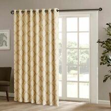 "Luxury Beige & Gold Fretwork Pattern Patio Door Window Curtain Panel - 100x84"""