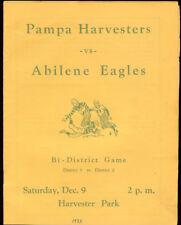1933 Pampa vs Abilene High Bi-District Game Program