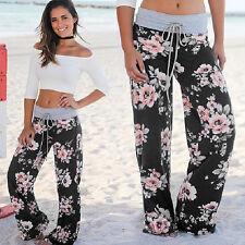 Womens Boho Floral Slim Pants Casual Wide Leg Loose Yoga Drawstring Trousers NWT