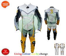 amarillo y gris Traje de cuero motocicleta personalizada A Uno / Dos Piezas