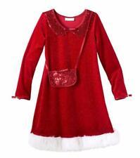BONNIE JEAN® Girls 5, 6, 6X Red Sparkle Santa Velvet Holiday Dress NWT $56