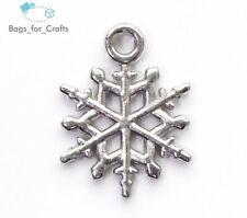 Silver Tone Acrylic Snowflake Christmas Charms Pendants 20mm (TC8) Xmas Winter