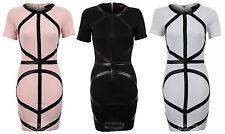 Ladies PVC Diagonal Straps Short Bodycon Black White Peach Women's Dress