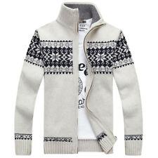 Korean Warm Mens Snow Casual Sweater Men Long Sleeve Knit Cardigan Coat Jackets