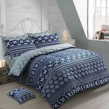 100% Brushed Cotton Nordic Scandinavian Blue Flannelette Duvet Quilt Bedding Set