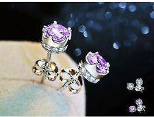 925 Sterling Silver Crown Stud Earring White Purple AAA CZ Earrings Gift Box