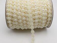 5 Meter/25 Meter Ivory Flatback Pearl Bead 10mm Sunflower Chain Garland Bouquet