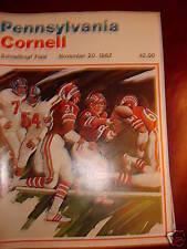 11/20/1982 CORNELL vs PENNSYLVANIA  FOOTBALL PROGRAM