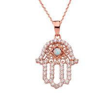 14k Rose Gold Chic Opal Hamsa Pendant Necklace