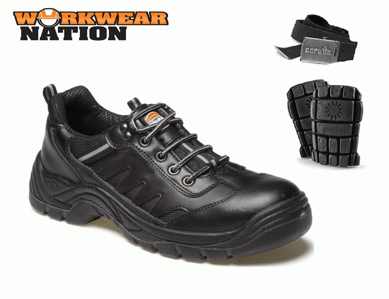 Hombre Dickies Dickies Hombre Stockton Seguridad Zapatillas piel superior acero punta ee09f4