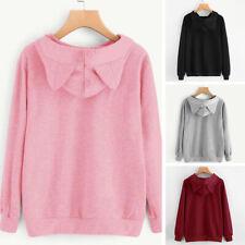 Cat Ear Printed Long Sleeve Hooded Trendy Coat Sweatershirt Pullovers Outwear