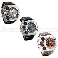 Herrenuhr Armbanduhr Analog Quarz Kompass Thermometer Leder Armband Uhr Charms