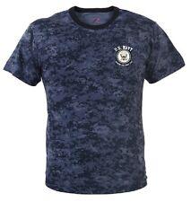US Navy KICKING ASS Since 1775 Midnight Blue Digital Camo T-Shirt Vet Veteran