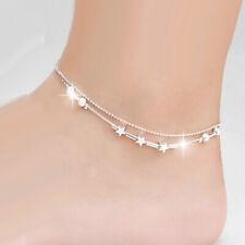 Pendant Double Chain Design Gift Women's Elegant Charm Bracelet Anklet Bead