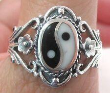 925 STERLING SILVER Black/White Ying Yang & Flower Filigree Ring BIG sz R T V X