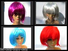 Para Mujer Damas Fancy Dress Costume Completa Corto Bob Peluca Sintética Flecos 7 Colores