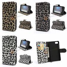 Leopard Geldbörse Tasche für BlackBerry Z10 - mit Hard Schutzhülle Standfunktion