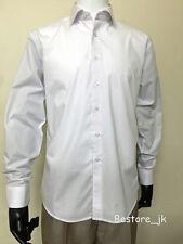 Men's Formal Dress Shirt Slim Fit Non-Iron Cotton Blend Solid #06 White