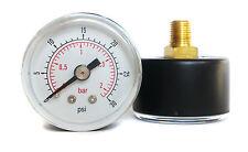 Pressure Gauge 40mm Dial 0/30 PSI & 0/2 Bar 1/8 BSPT Back. Optional Hose Tails