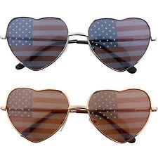 Heart Shaped American US Flag Print Lens Sunglasses America USA Stars & Stripes