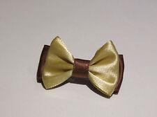 Barrette élastique chouchou pince petit noeud papillon cheveux marron et or