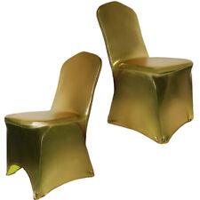 Métal Doré Glitter bronzage élastique Housse de chaise Couverture Mariage