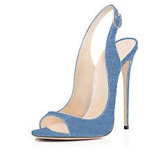 Women Fashion Chic Denim Open Toe Slingback High Heel Court Sandals Party Shoes